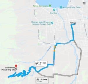 Peta menuju puncak gunung matantimali dari Kota Palu